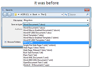 Microsoft Office Word save dialog